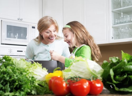 Mother and Child in Kitchen